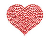 Corazón grande hecho de pequeños corazones sin BG Fotos de archivo libres de regalías