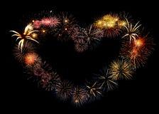 Corazón grande hermoso del fuego artificial imagenes de archivo