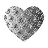 Corazón gris de gran capacidad con las rosas Fotos de archivo