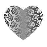 Corazón gris de gran capacidad con las rosas Fotografía de archivo