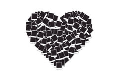 Corazón hecho con los marcos inmediatos en blanco de la foto, aislados en blanco Imagenes de archivo