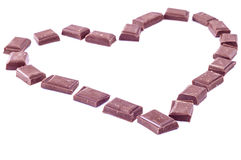 Corazón hecho de bloques de chocolate Fotos de archivo