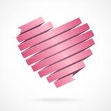 Corazón hecho de cinta de papel roja. Estilo de la papiroflexia. Foto de archivo