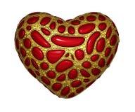 Corazón hecho de 3D metálico brillante de oro con el vidrio rojo aislado en el fondo blanco fotografía de archivo