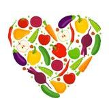 Corazón hecho de frutas y verdura Fotos de archivo libres de regalías