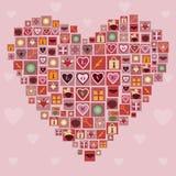 Corazón hecho de iconos del amor Foto de archivo