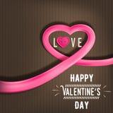 Corazón hecho de la cinta brillante para el día de tarjeta del día de San Valentín (14 de febrero) Fotografía de archivo