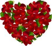 Corazón hecho de las flores del hibisco Foto de archivo libre de regalías