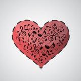 Corazón hecho de notas de la música Foto de archivo libre de regalías