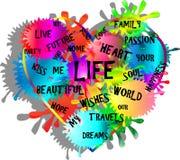Corazón hecho de rayas verticales de la pintura con palabras importantes de la vida stock de ilustración