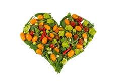 Corazón hecho de verduras Fotografía de archivo