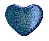 Corazón hecho del plástico azul con los agujeros abstractos aislados en el fondo blanco 3d Fotos de archivo libres de regalías