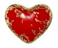 Corazón hecho en 3D metálico brillante de oro con la pintura roja en el fondo blanco Stock de ilustración