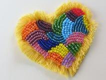 Corazón (hecho a mano, beadwork) Imagenes de archivo