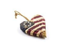 Corazón hecho a mano de la bandera americana Imagenes de archivo