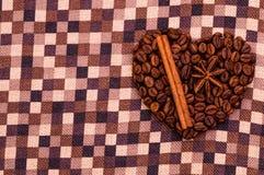 Corazón hecho a mano del café Foto de archivo