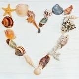 Corazón hecho por las cáscaras del mar Fotografía de archivo