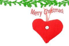 Corazón hecho punto de la Navidad Fotos de archivo
