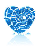 Corazón helado azul quebrado Foto de archivo libre de regalías