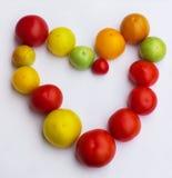 Corazón hermoso de tomates Fotografía de archivo