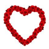 Corazón hermoso hecho de rosas rojas - marco Fotografía de archivo