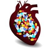 Corazón humano por completo de vitaminas Fotografía de archivo libre de regalías