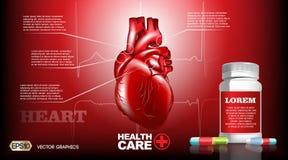 Corazón humano realista de Infografic del vector de Digitaces Órganos detallados del ejemplo superior de la calidad Píldoras de l stock de ilustración