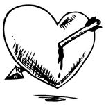 Corazón hurted con la flecha Fotografía de archivo libre de regalías
