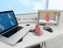 corazón impreso 3d Imagen de archivo libre de regalías