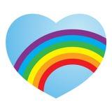 Corazón lesbiano alegre del amor del arco iris de la tarjeta del día de San Valentín Imagen de archivo libre de regalías