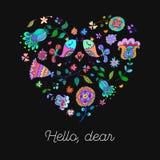 Corazón lindo del garabato con el fondo floral y espacio para el texto Foto de archivo libre de regalías