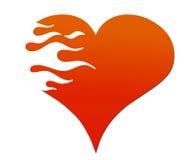Corazón llameante Imágenes de archivo libres de regalías