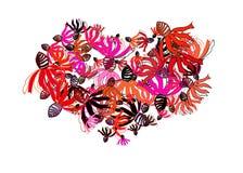 Corazón mágico de la flor stock de ilustración