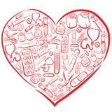 Corazón médico dibujado mano libre illustration