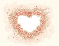 Corazón-marco romántico con las rosas Imágenes de archivo libres de regalías