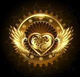 Corazón mecánico con las alas Imagen de archivo