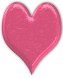 Corazón metálico rosado grabado Foto de archivo