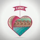 Corazón modelado historieta del amor Foto de archivo