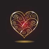 Corazón modelado oro Fotografía de archivo libre de regalías