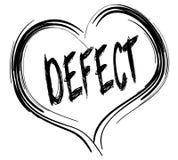 Corazón negro bosquejado con el texto del DEFECTO stock de ilustración