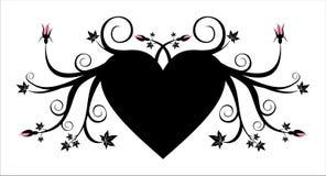 Corazón negro floral con los brotes rosados Imagen de archivo libre de regalías
