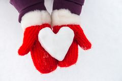 Corazón Nevado en manos con las manoplas rojas Imagen de archivo