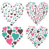 Corazón-nota-clave-fije Imagenes de archivo