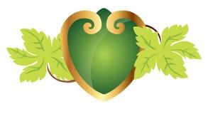 Corazón ornamental con las hojas Imagenes de archivo