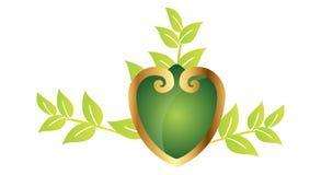 Corazón ornamental con las hojas Imagen de archivo