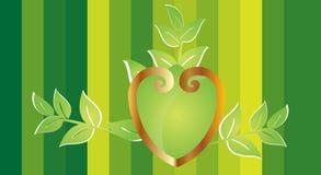 Corazón ornamental con las hojas Fotos de archivo