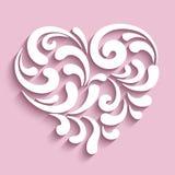 Corazón ornamental con los remolinos de papel Imagen de archivo