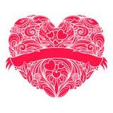 Corazón ornamental del vector con la cinta a través de ella Imagen de archivo