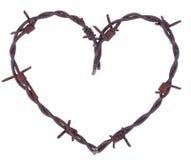 Corazón oxidado del alambre de púas Imagen de archivo libre de regalías
