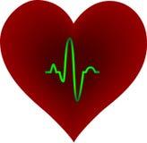 Corazón púrpura con el rastro del pulso stock de ilustración